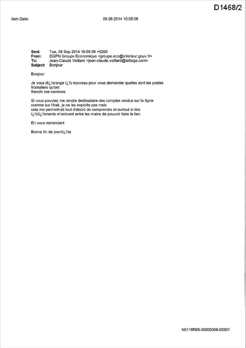 Lafarge ın DEAŞ ile ilişkisini Fransa istihbaratına bildirdiği belgeler #5