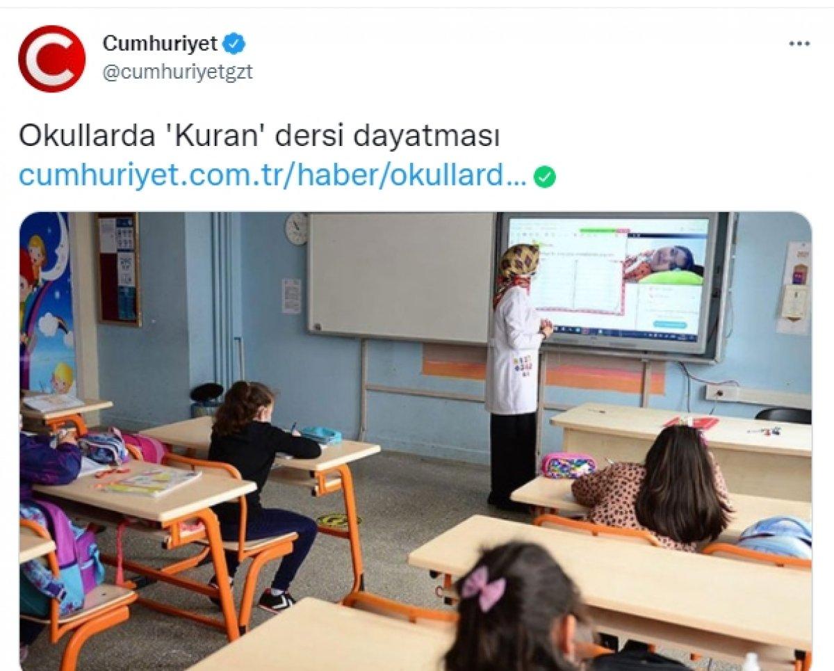 Cumhuriyet gazetesi Kur an derslerine tepki gösterdi #1