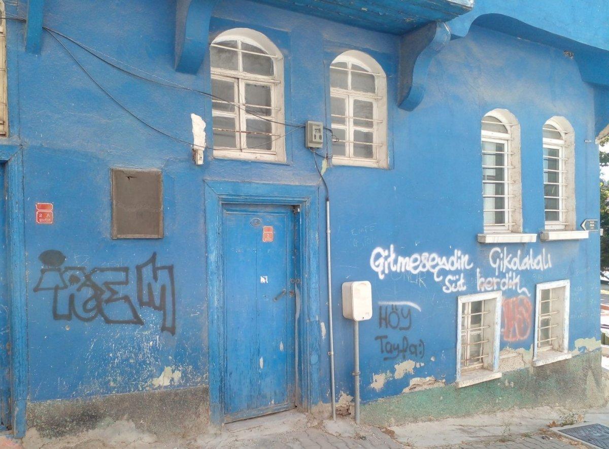 Eskişehir'de tarihi evlerin duvarları sprey boyalarla karalandı #2