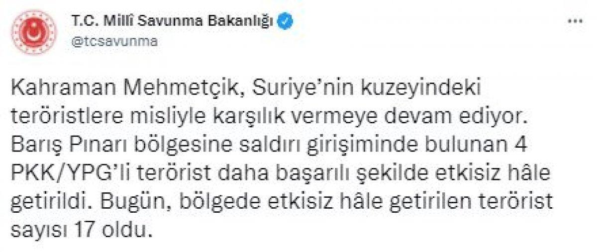 Barış Pınarı bölgesinde 4 PKK/YPG li terörist öldürüldü #2