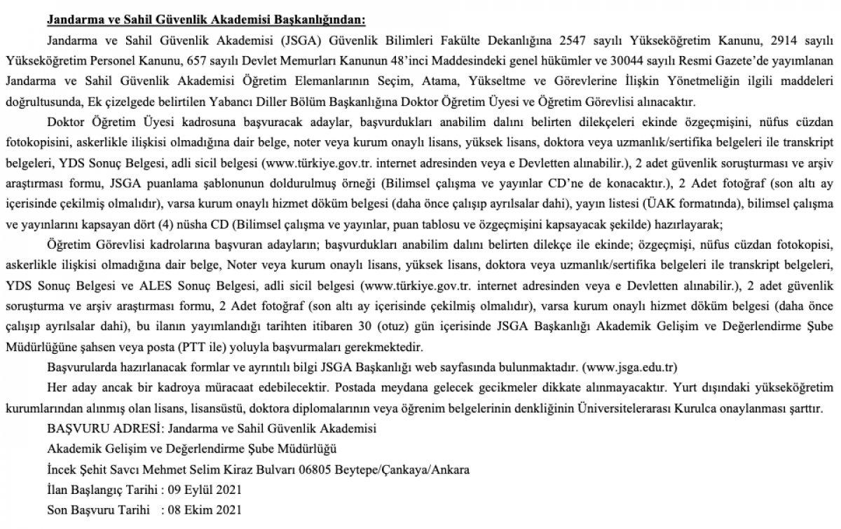 Jandarma ve Sahil Güvenlik Akademisine 15 akademisyen alımı yapılacak #1