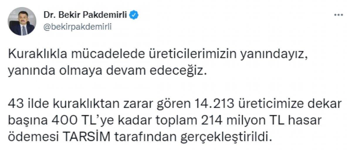 Kuraklıktan zarar gören üreticilere 214 milyon lira ödeme yapıldı #1