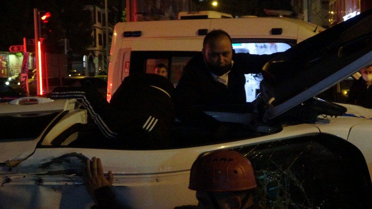 Çorum da kaçan aracı kovalayan polis otomobili takla attı #2