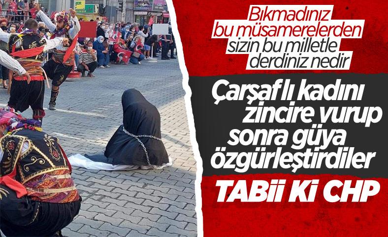 CHP'li Edremit Belediyesi'nin töreninde Türk kadını çarşaf giydirilip zincire vuruldu