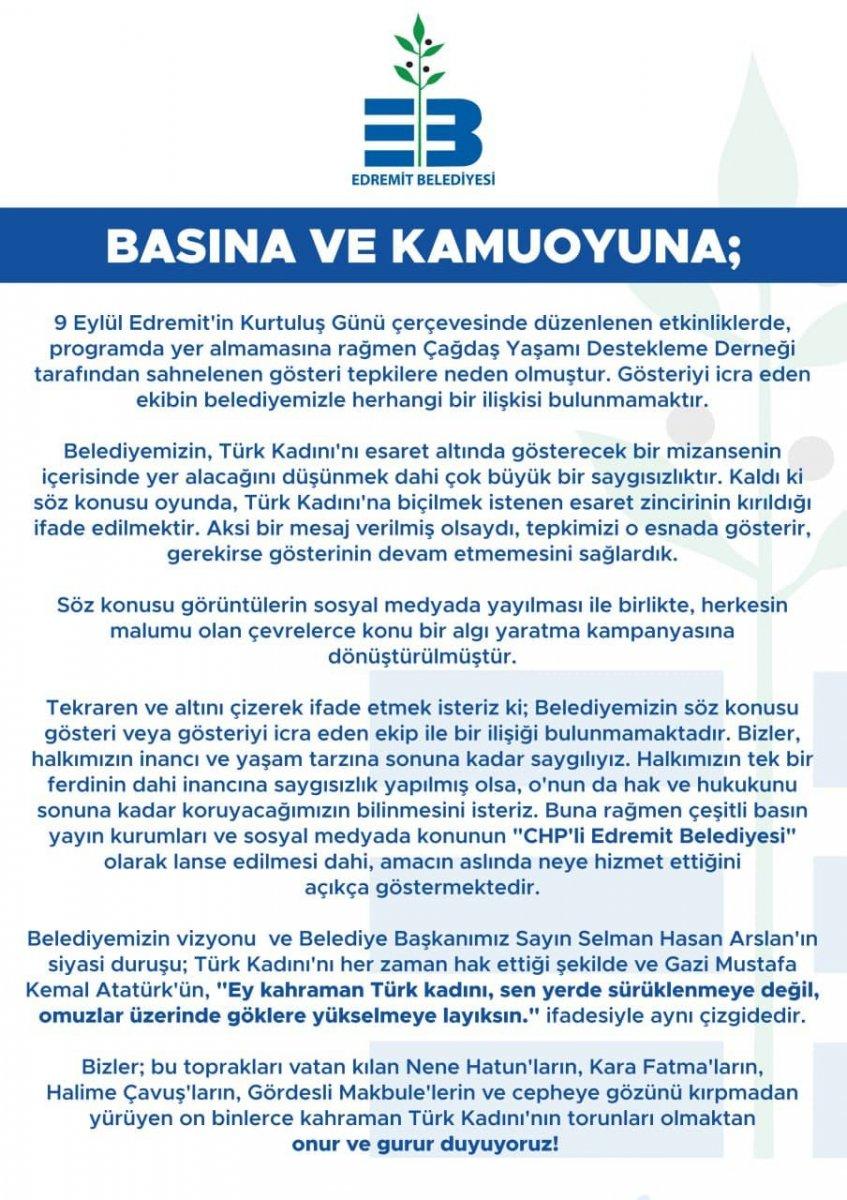 CHP li Edremit Belediyesi nden zincirli kadın gösterisine ilişkin açıklama #3