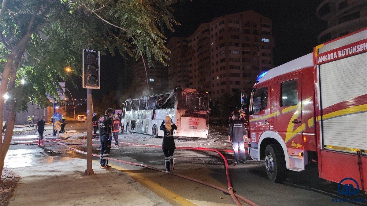 Ankara da yolcu otobüse alevlere teslim oldu: 1 ölü, 20 yaralı #3