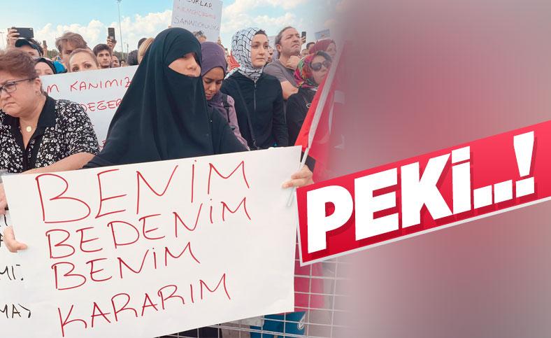 Aşı karşıtları mitinginde dikkat çekici pankartlar