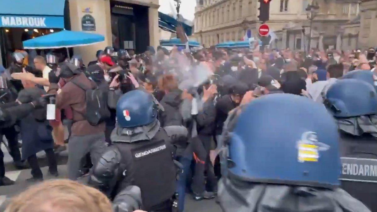 Fransa da koronavirüs protestosunda göstericiler polisle çatıştı #6