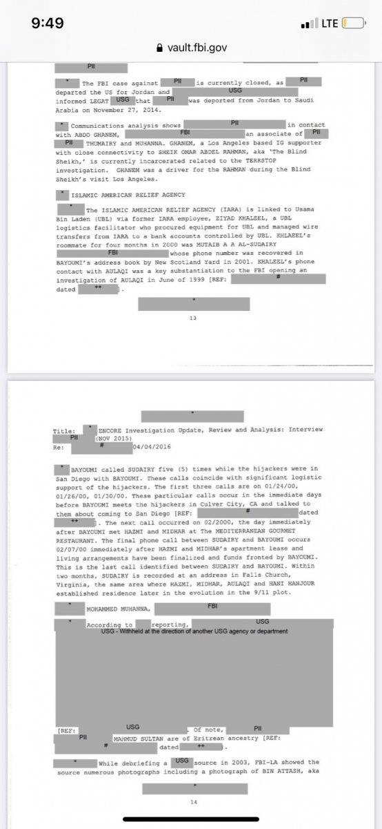 FBI, 11 Eylül e dair gizli belgeleri yayınladı #1
