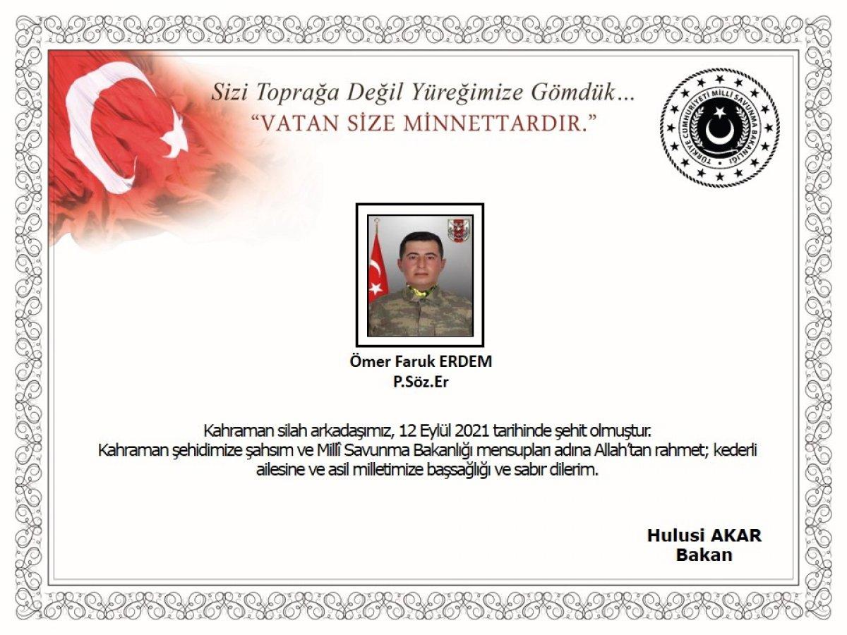 Pençe-Şimşek bölgesinde 1 askerimiz şehit oldu #1