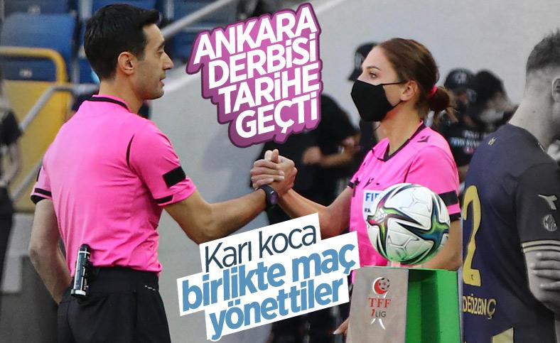 Evli hakem çift Ankara derbisinde tarihe geçti