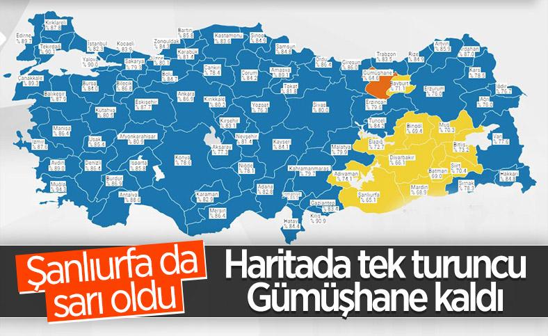 Koronavirüs Risk Haritası'nda 'turuncu' renkli tek il: Gümüşhane