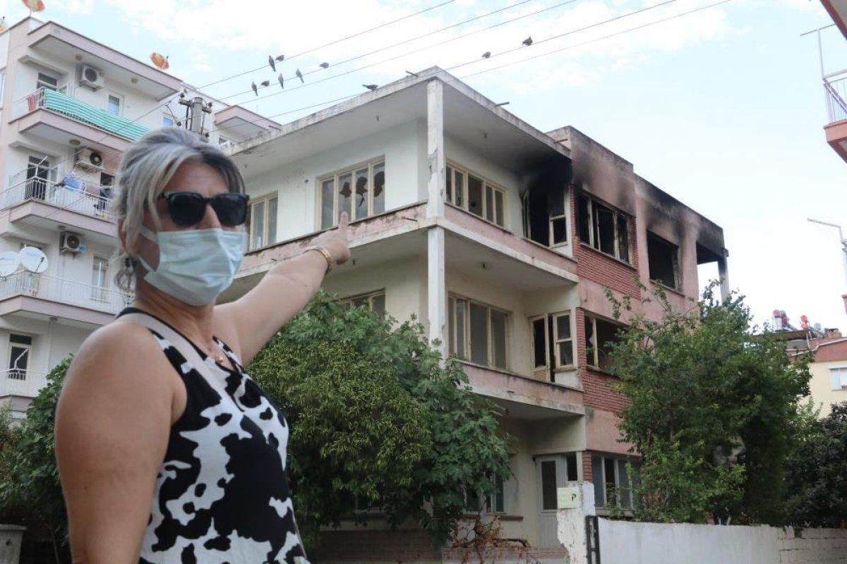 Antalya da bimekan şahısların sebep olduğu düşünülen bina alev alev yandı #2