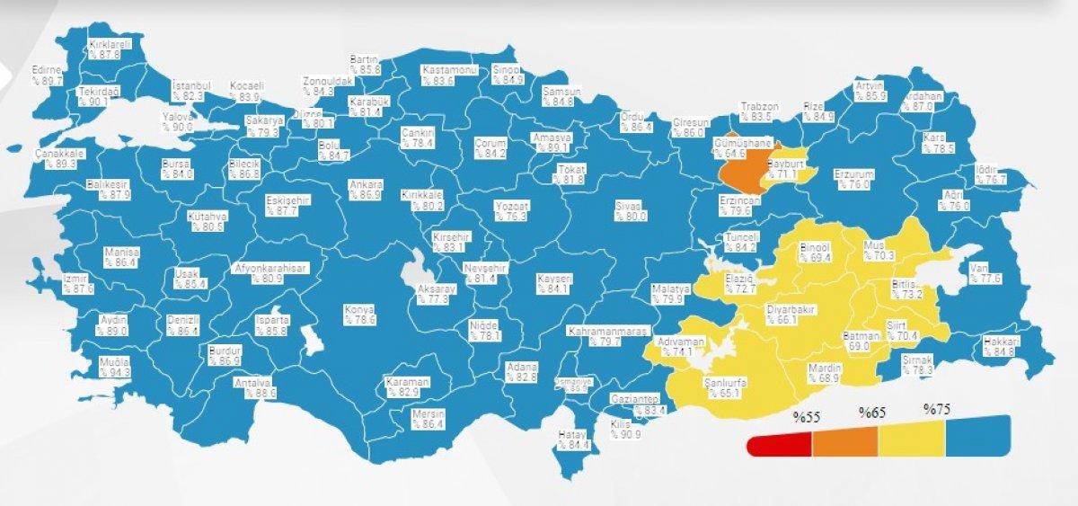 Koronavirüs Risk Haritası nda 'turuncu' renkli tek il: Gümüşhane #1