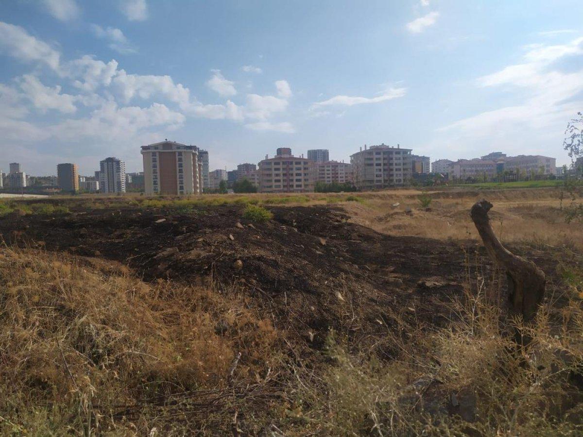 Ankara da yıldırım düşen boş arazide yangın çıktı #1