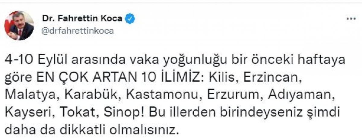 Fahrettin Koca illere göre haftalık vaka sayılarını açıkladı #4