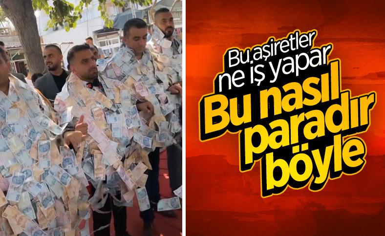 Aşiret düğününde damat, paraları taşımakta zorlandı