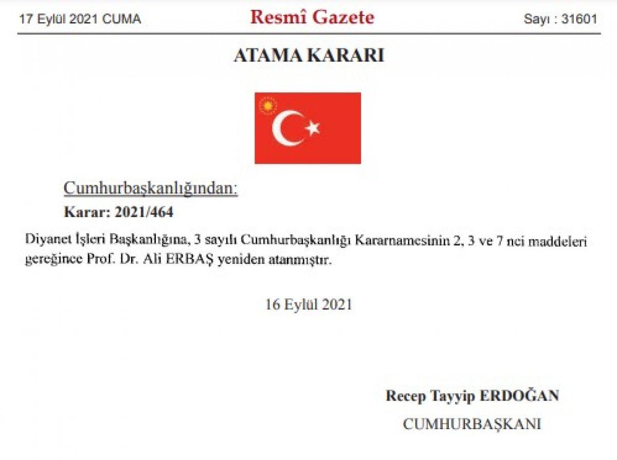 Diyanet İşleri Başkanlığı na Prof. Dr. Ali Erbaş yeniden atandı #1