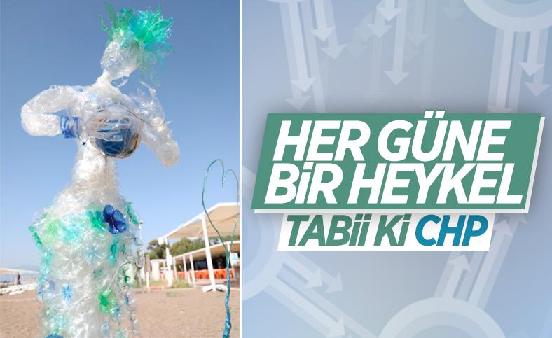 CHP'li Antalya Büyükşehir Belediyesi'nden heykelli kıyı temizliği