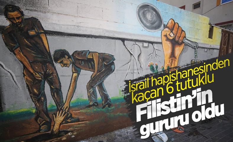 İsrail hapishanesinden kaçan Filistinliler, Gazze'de duvarlara resmedildi