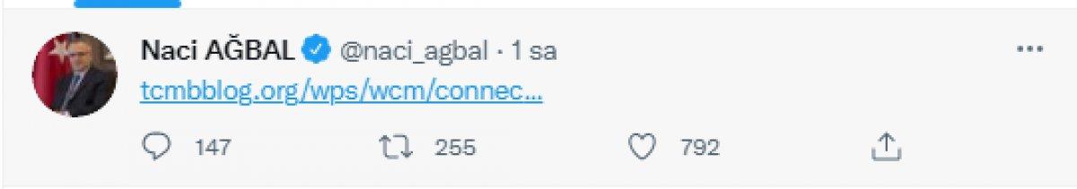 Eski TCMB Başkanı Naci Ağbal dan PPK öncesi tweet #1