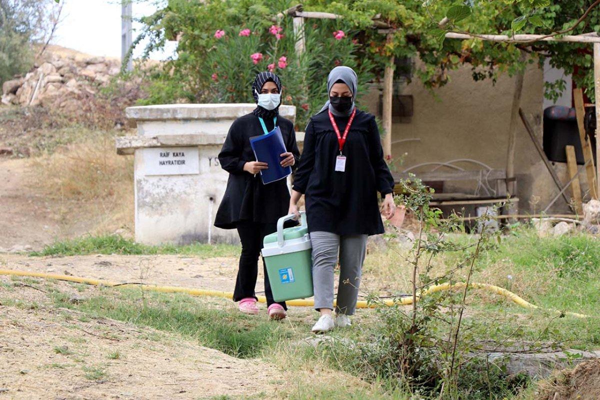 Elazığ da anonsla çağrılan köylüler, taziyeevinde koronavirüs aşısı oluyor #5