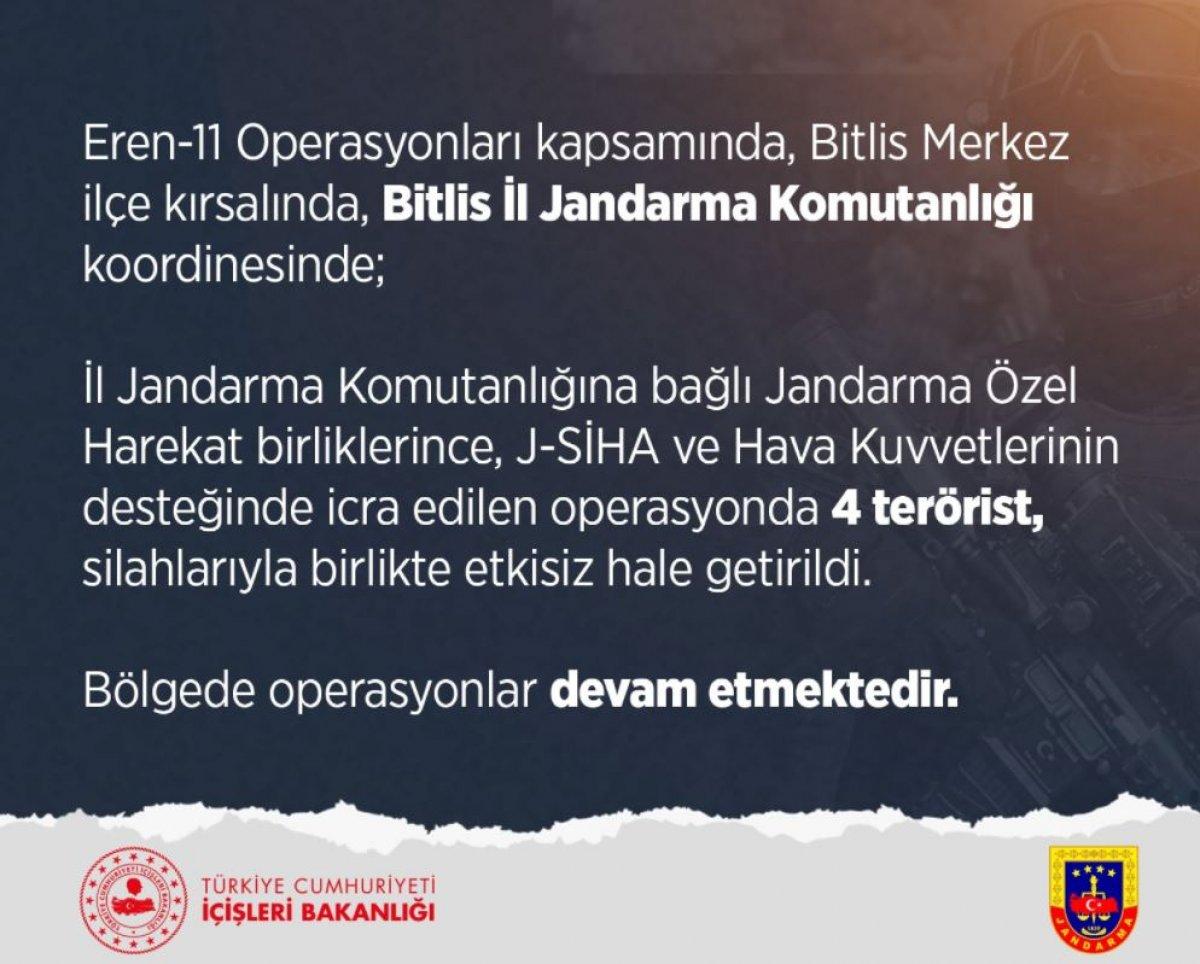 İçişleri Bakanlığı: Bitlis te 4 terörist silahlarıyla etkisiz hale getirildi #2