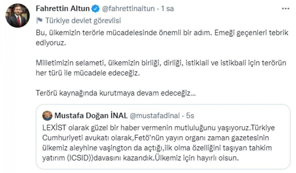 Fahrettin Altun: Terörü kaynağında kurutmaya devam edeceğiz #1