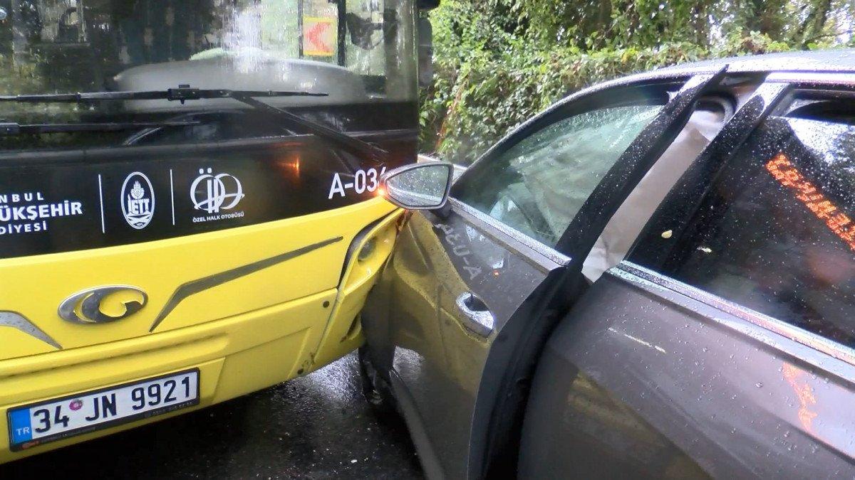 Sarıyer'de İETT otobüsü önce 2 otomobile sonra bariyerlere çarptı #2