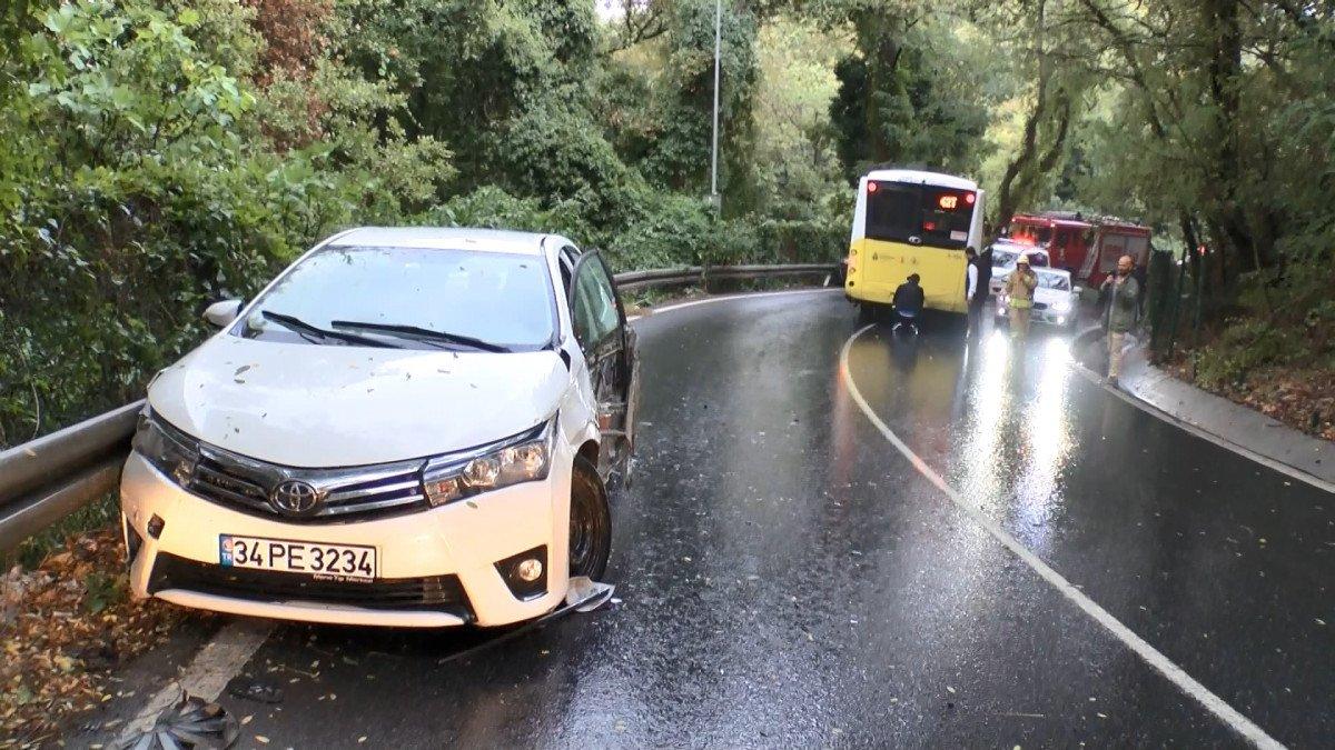 Sarıyer'de İETT otobüsü önce 2 otomobile sonra bariyerlere çarptı #8