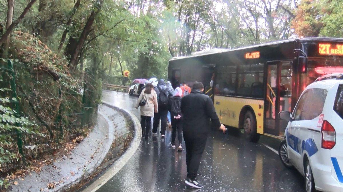 Sarıyer'de İETT otobüsü önce 2 otomobile sonra bariyerlere çarptı #5