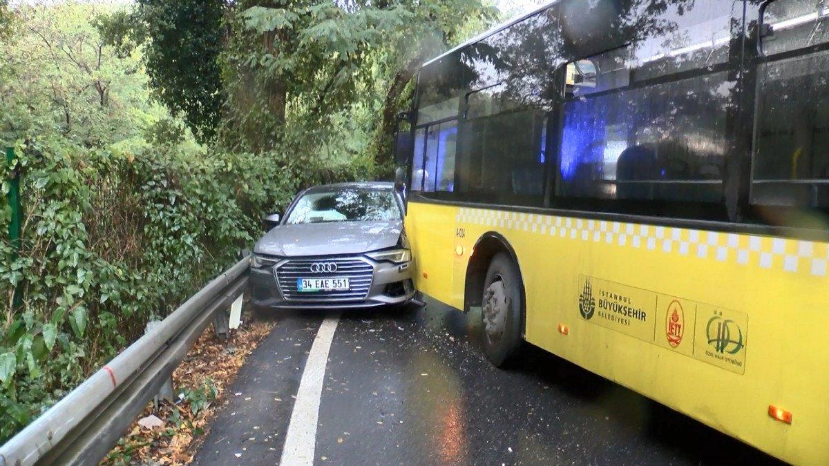 Sarıyer'de İETT otobüsü önce 2 otomobile sonra bariyerlere çarptı #4