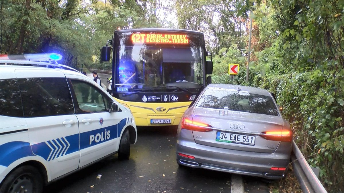 Sarıyer'de İETT otobüsü önce 2 otomobile sonra bariyerlere çarptı #3