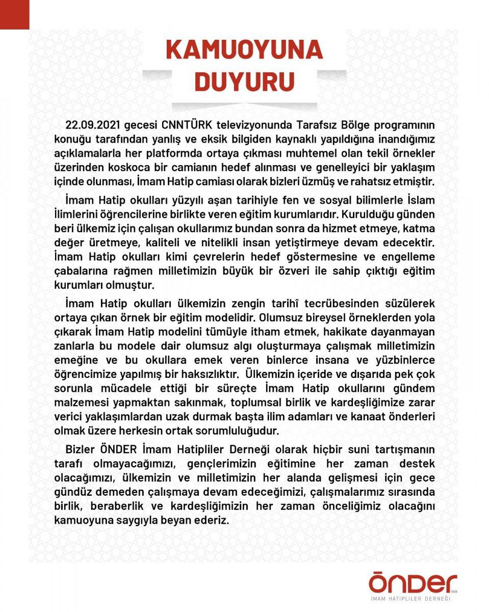 ÖNDER İmam Hatipliler Derneği'nden Cübbeli Ahmet e tepki #1