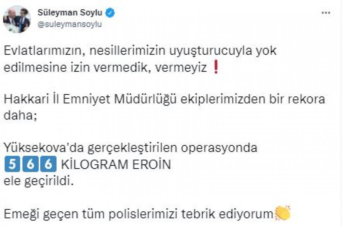 Süleyman Soylu: Yüksekova da 566 kilogram eroin ele geçirildi #2