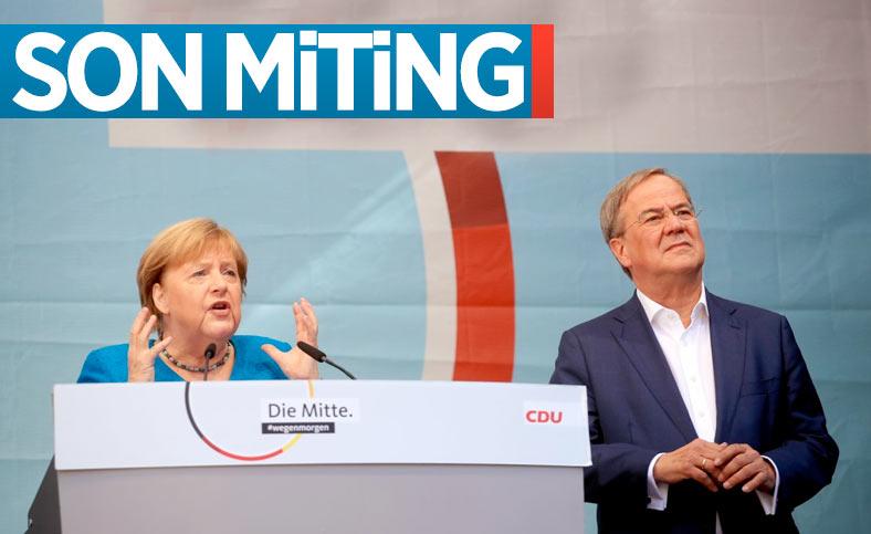Angela Merkel, son mitingine veliahtı için çıktı