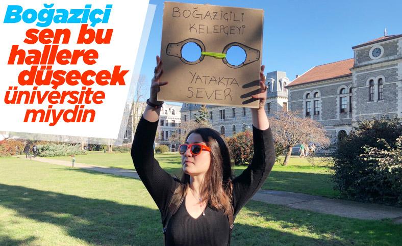 Boğaziçi Üniversitesi'nde kelepçe mesajlı protesto