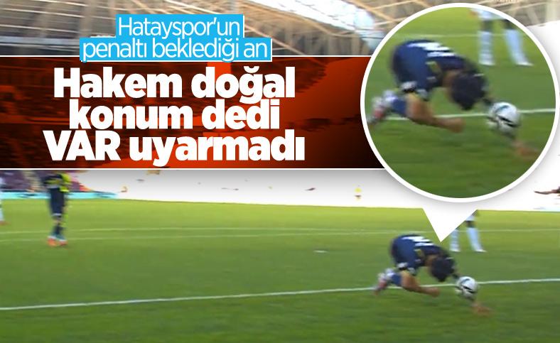 Hatayspor-Fenerbahçe maçında tartışmalı penaltı pozisyonu