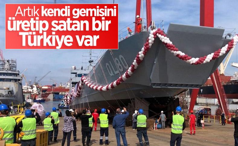 Yerli imkanlarla üretilen çıkarma gemisi, Tuzla'da denize indirildi