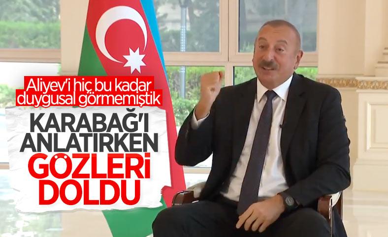 İlham Aliyev'in, Karabağ'ı anlatırken gözleri doldu