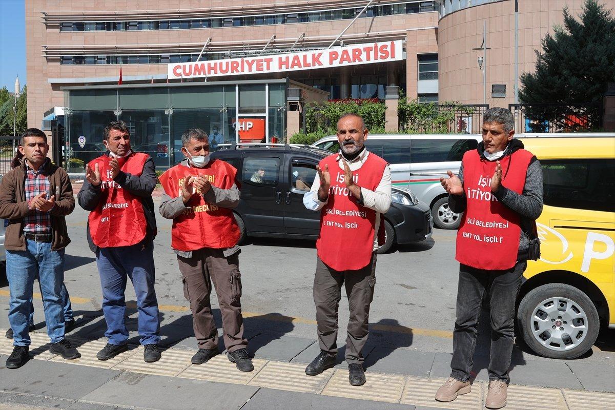 İşten çıkarılan işçiler CHP Genel Merkezi önünde basın açıklaması yaptı #1