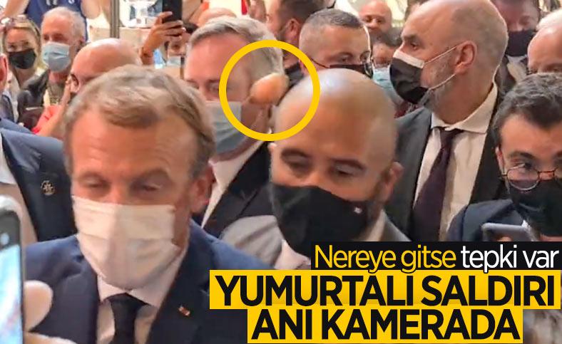 Emmanuel Macron'a yumurtalı saldırı