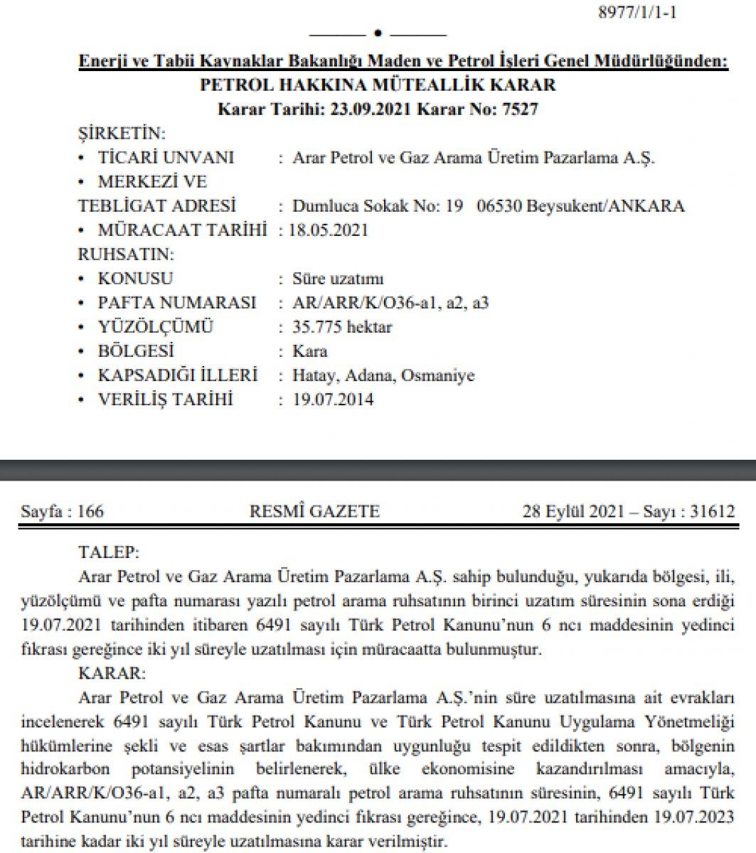 Hatay, Adana, Osmaniye de petrol arama süreleri uzatıldı #2