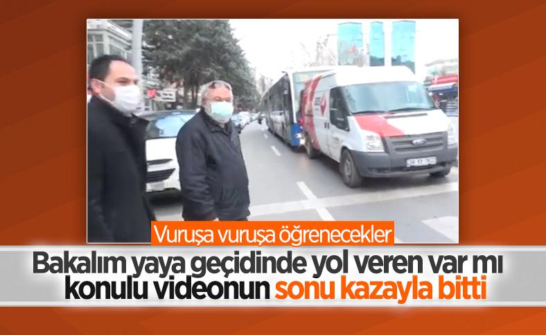 Ankara'da yayalara yol verirken arkadan otobüs çarptı