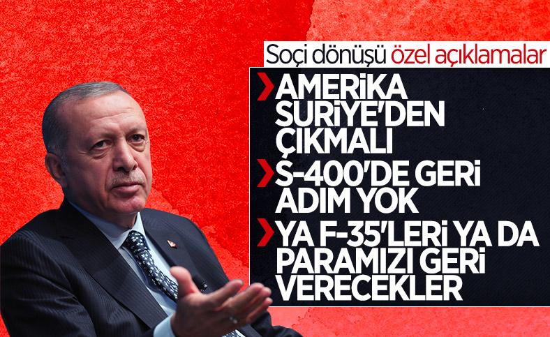 Cumhurbaşkanı Erdoğan'dan Soçi dönüşü önemli mesajlar