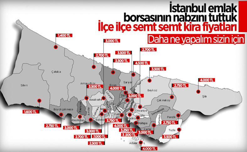 İstanbul'un ilçe ilçe kira fiyatları