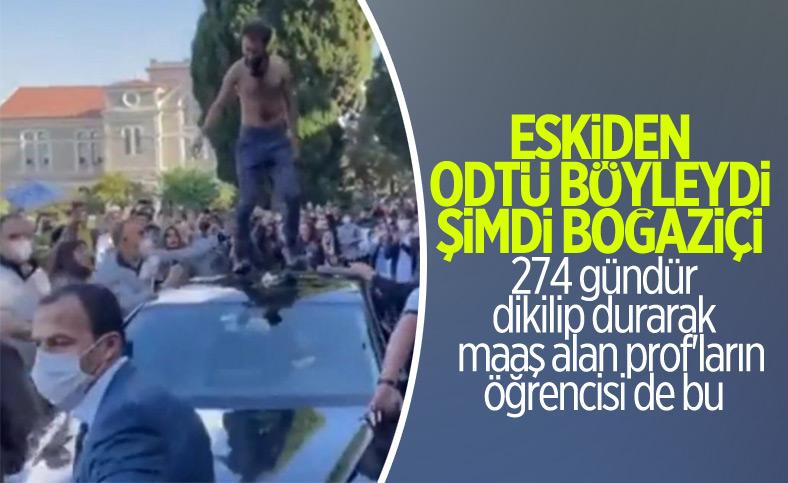 Boğaziçi'nde öğrenciler rektör Naci İnci'nin aracının üstüne çıktı