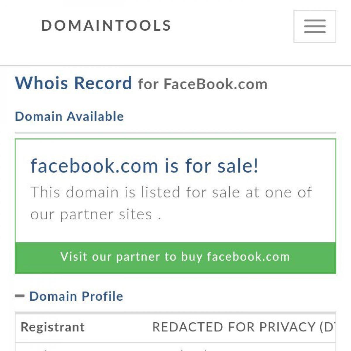 Facebook un alan adı satışa çıktı #2
