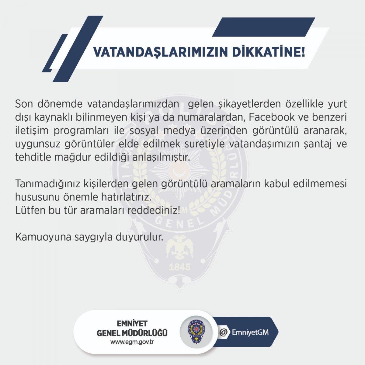EGM den sosyal medyada cinsel dolandırıcılığa karşı uyarı #2