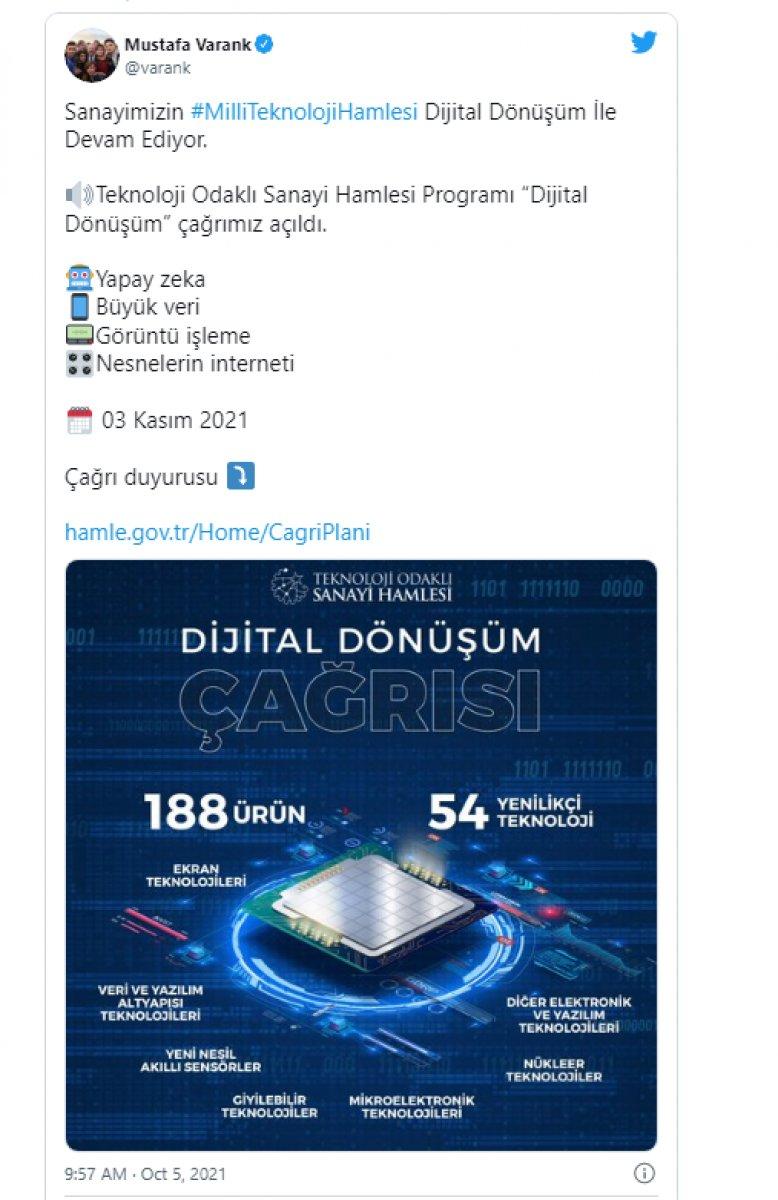Mustafa Varank: Teknoloji odaklı sanayi hamlesi programı dijital dönüşüm çağrısı açıldı #1